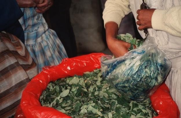 Eine Händlerin füllt Coca ab