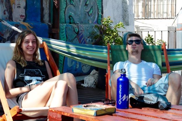 Auf der Dachterrasse im Hostel Posada al Sur, Montevideo