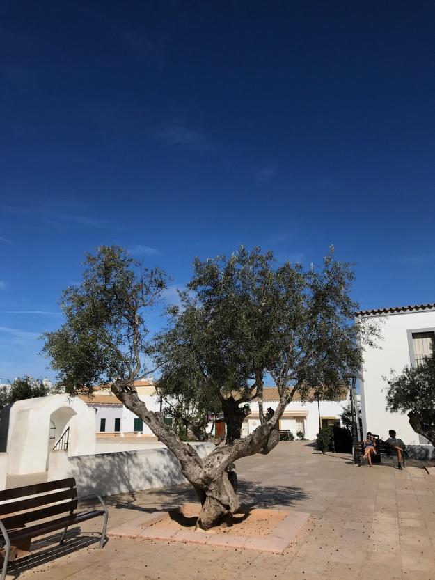 Dorfplatz auf Formentera im Winter. Die Ruhe selbst